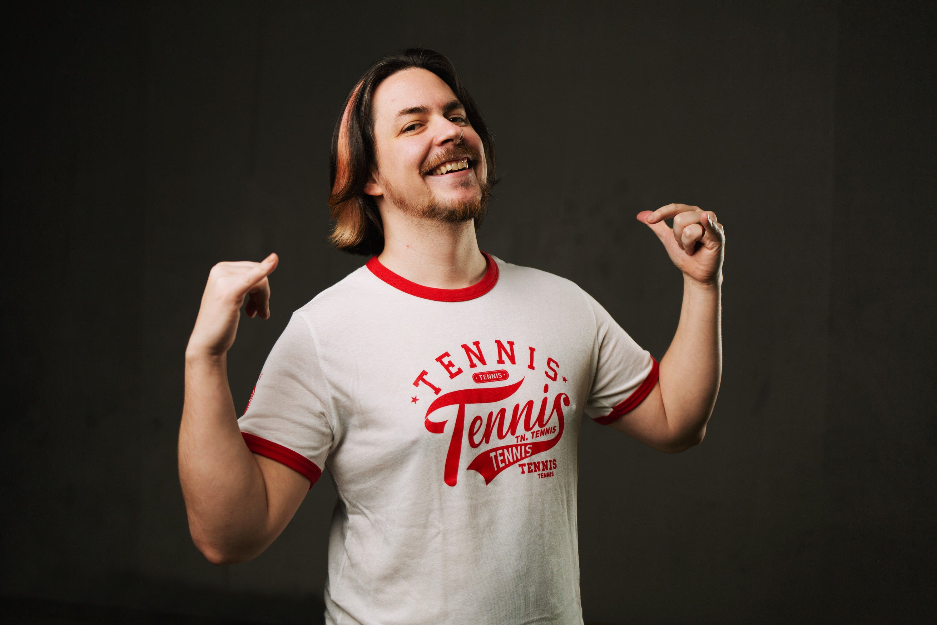 "Game Grumps ""Tennis"" Unisex Ringer Tee (White/Red Variant)"