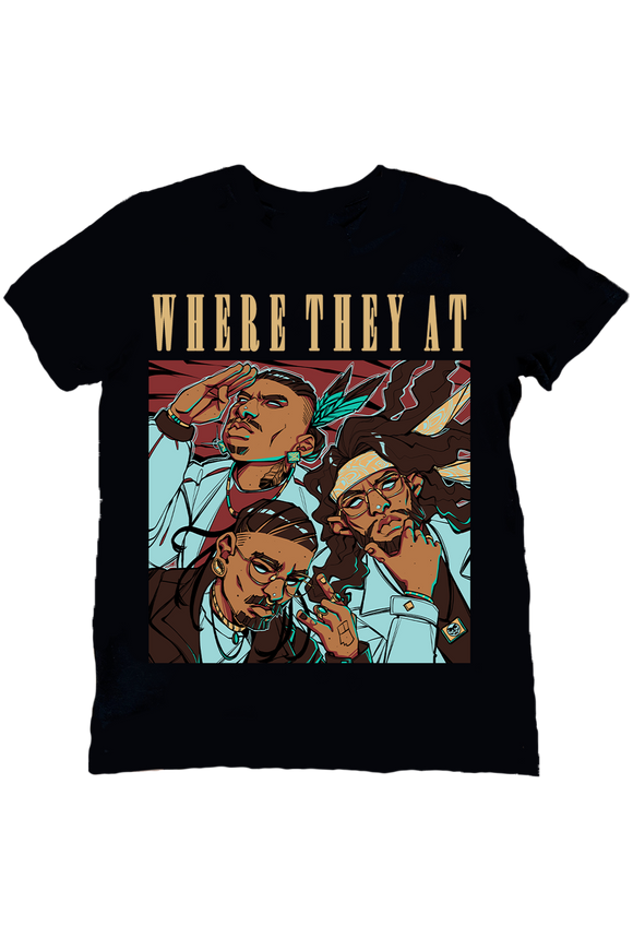 WHERE THEY AT COVER ART TEE (BLACK)