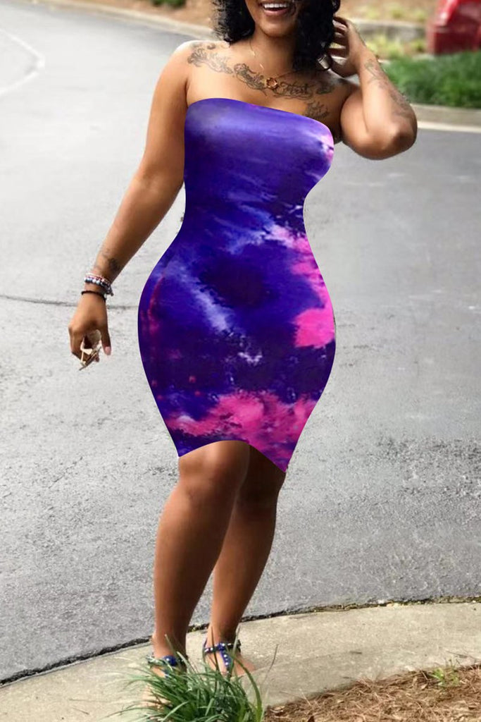 Tie Dye Strapless Mini Dress
