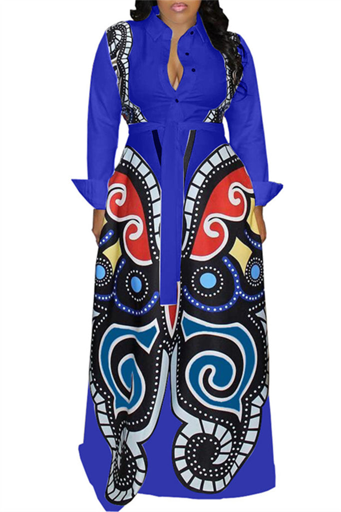 Printed Button Up Long Sleeve Maxi Dress
