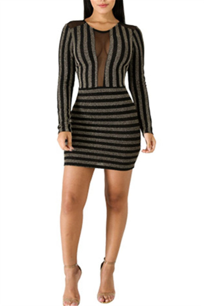 Mesh Panel Long Sleeve Striped Sexy Mini Dress