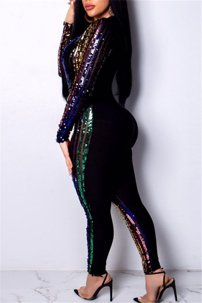 Plunging Neckline Sequins Patchwork Long Sleeve Jumpsuit