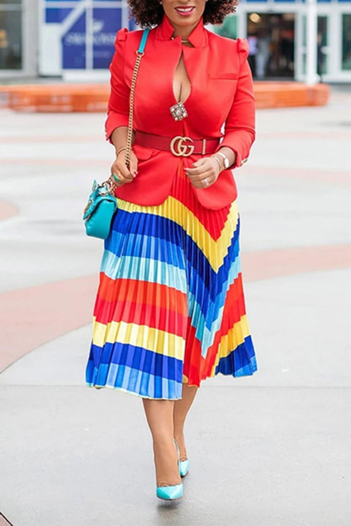 Geometric Rainbow Ruched Midi Skirt