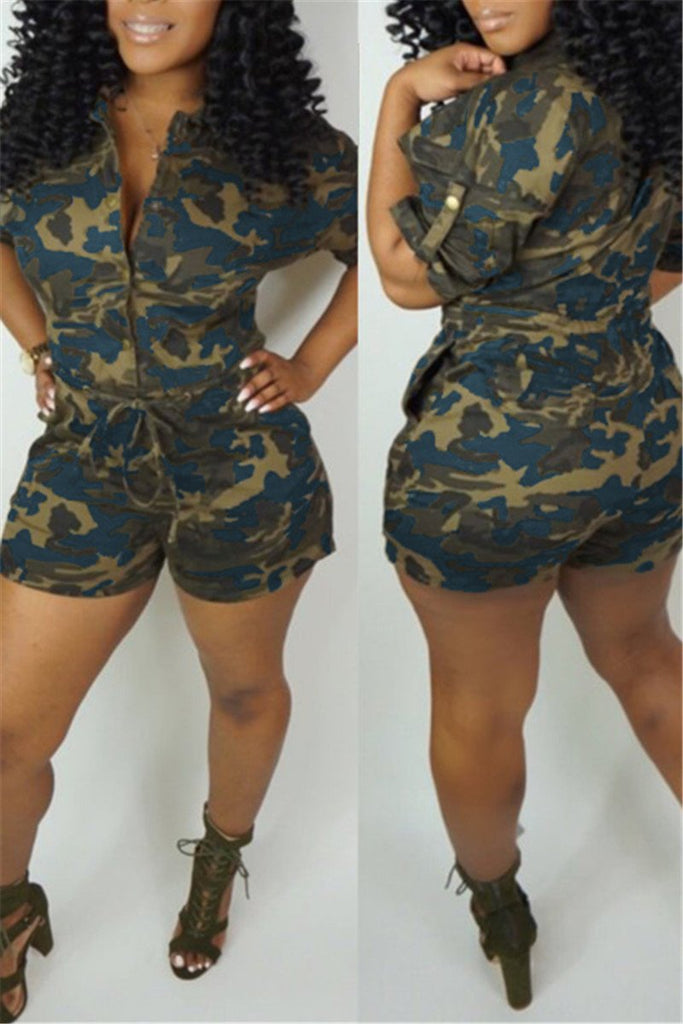 Button Up Drawstring Waist Pocket Camouflage Romper
