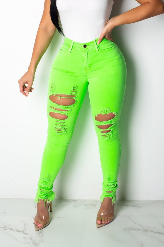 Distressed Solid Color High Waist Jeans