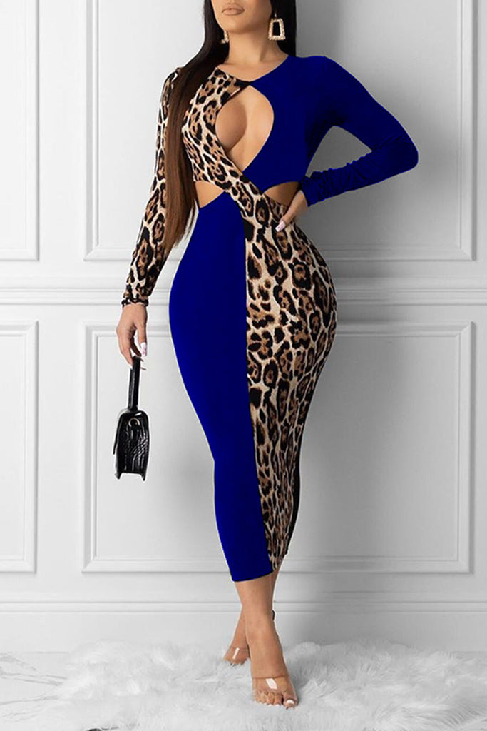 Criss Cross Leopard Splicing Midi Dress