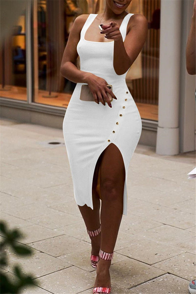 Scoop Neck Solid Color Sleeveless Slit Dress
