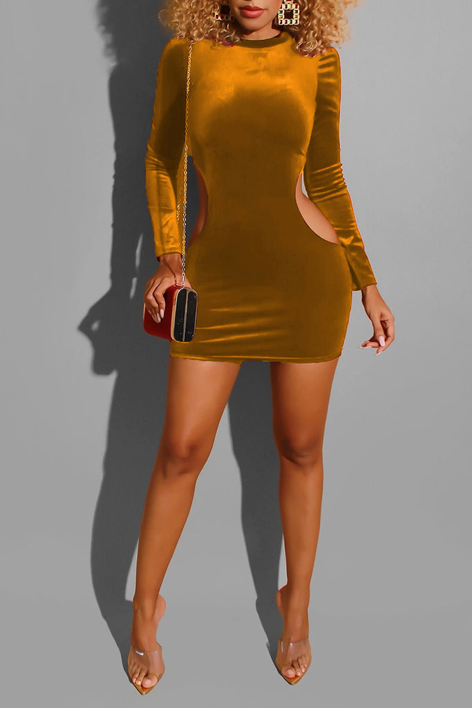 Pierced Solid Color Bodycon Mini Dress