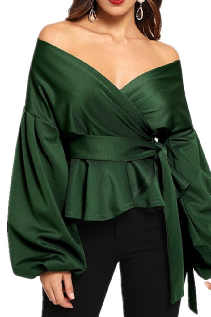 Off The Shoulder Lantern Sleeve Ruffled Blouse