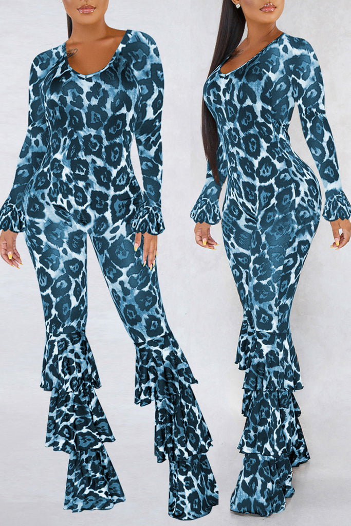 Flounced Leopard Print Scoop Neck Jumpsuit