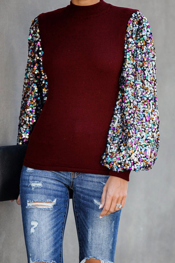 Sequin Patchwork Lantern Sleeve Blouse