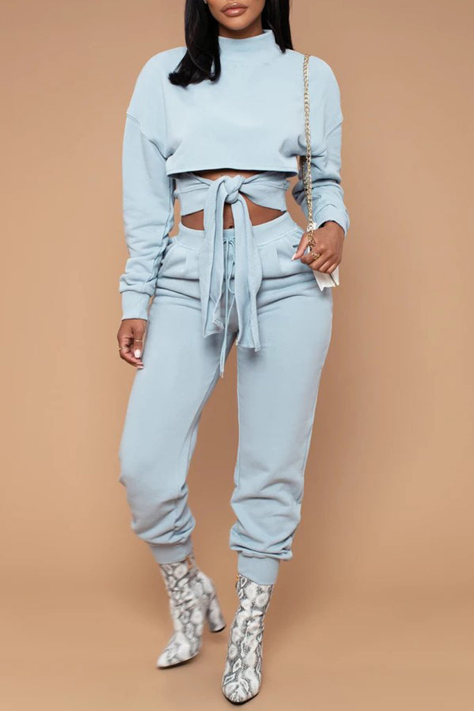 Tie Up Drawstring Waist Two Piece Sets