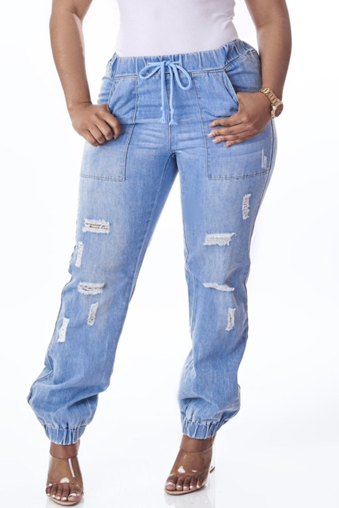 Drawstring Waist Distressed Denim Jeans
