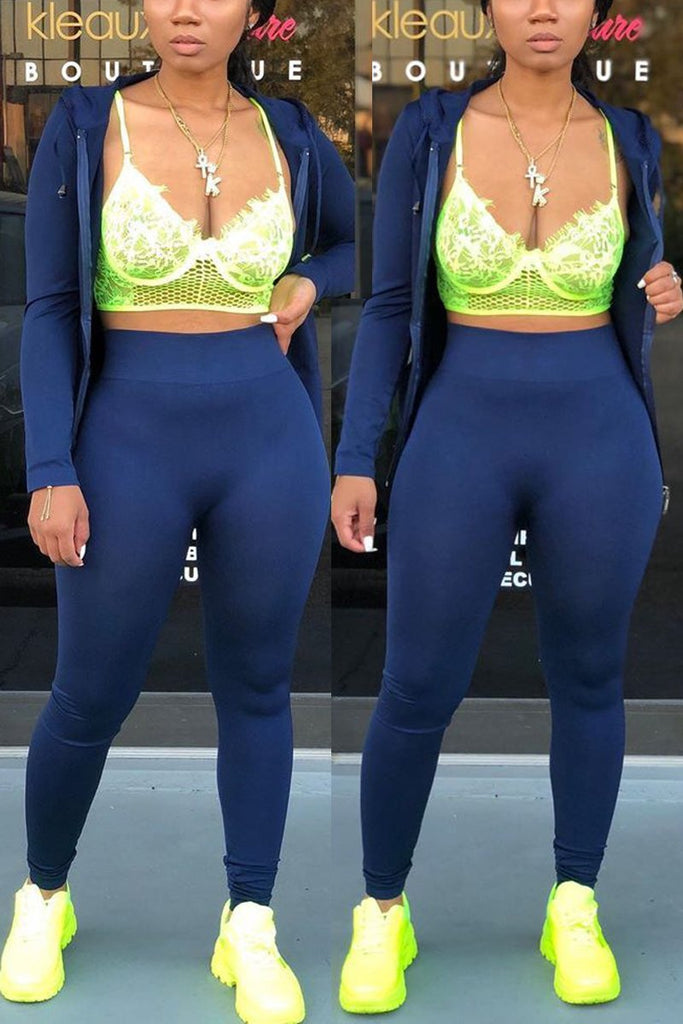 Plus Size Hooded Collar Zipper Two Piece Sets