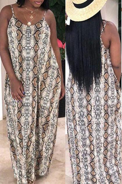 Spaghetti Straps Printed Casual Maxi Dress