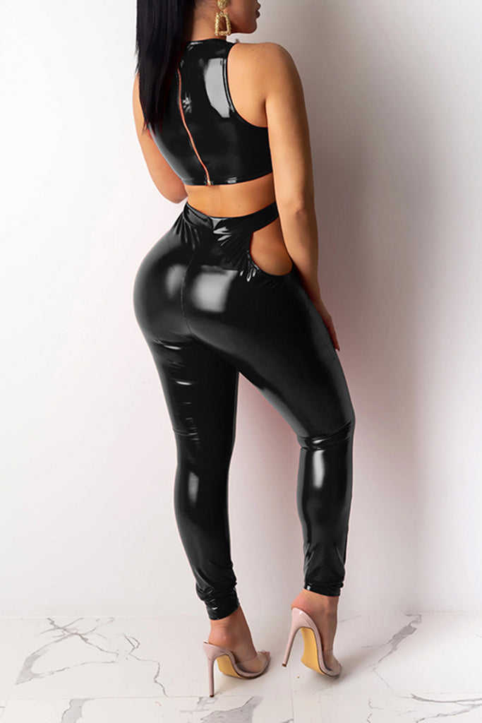 Pierced Solid Color Sleeveless PU Jumpsuit