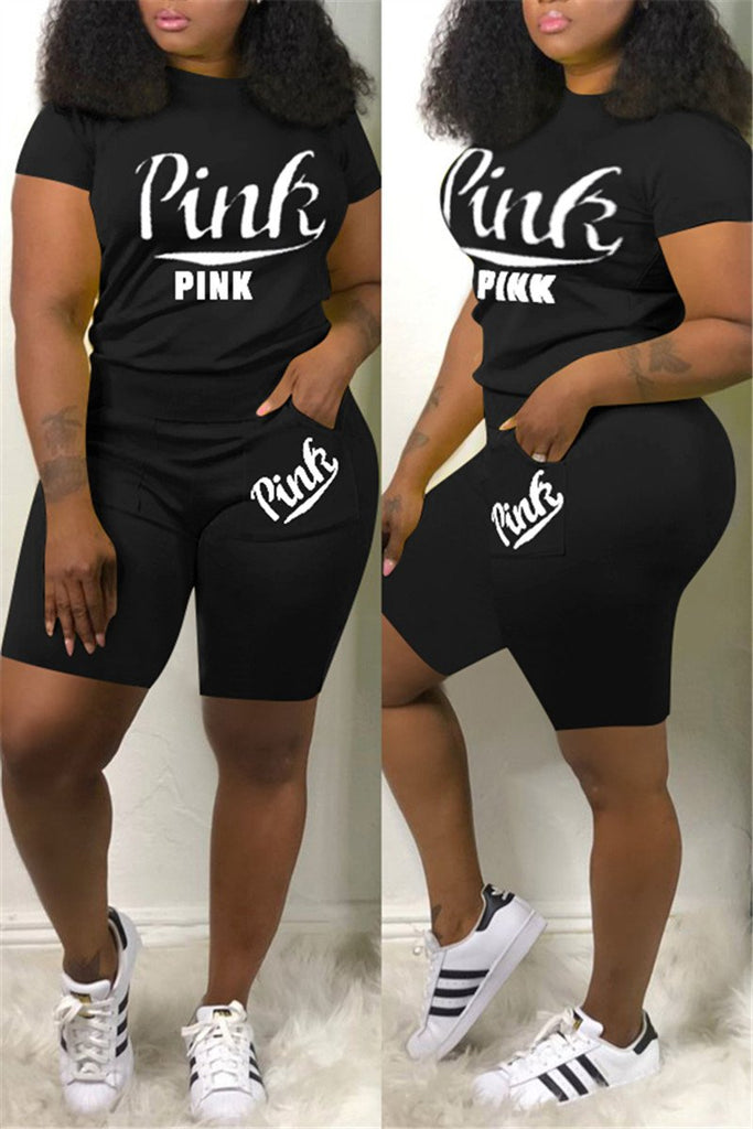 Plus Size Letter Print Short Sleeve Top & Shorts