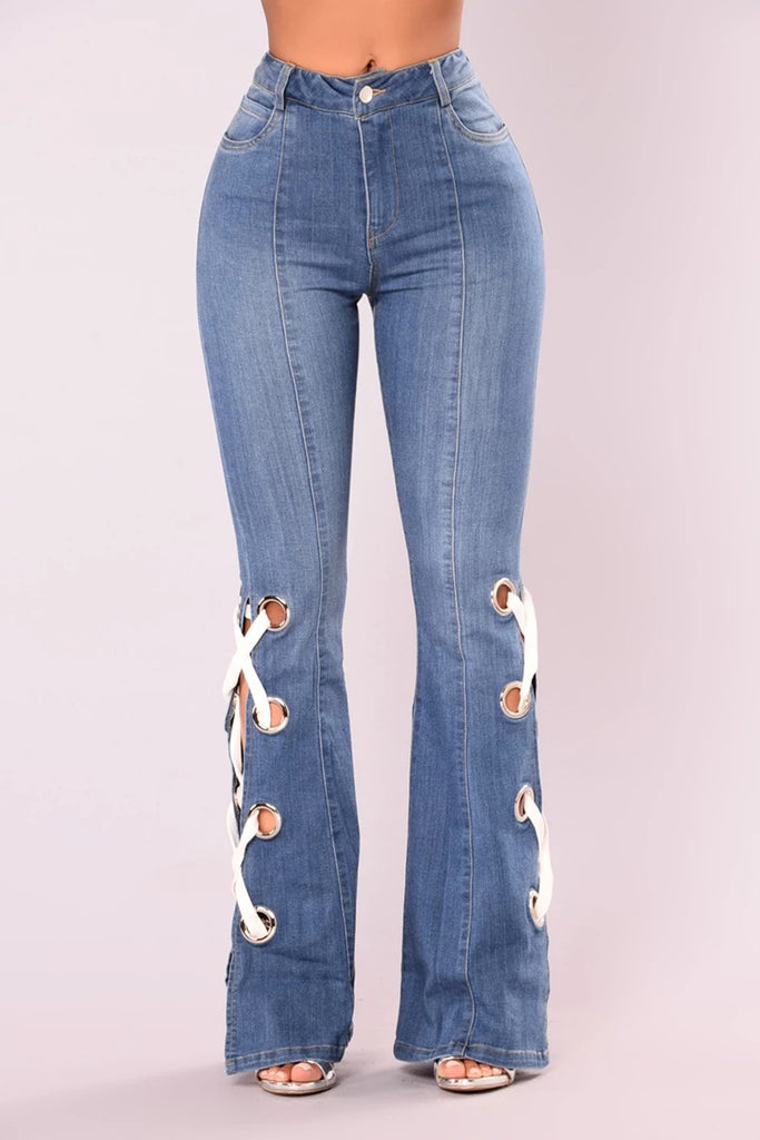 Eyelet Detail Bandage Denim Flared Pants