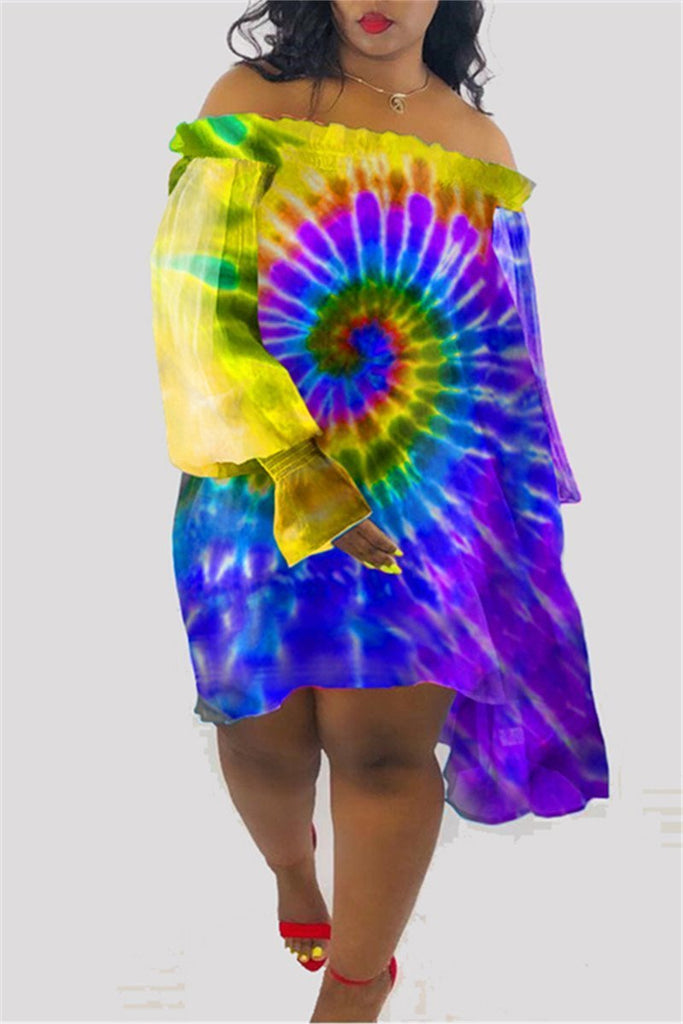 Off the Shoulder Tie Dye Casual Dress
