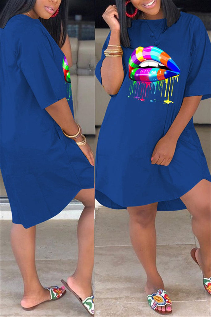 Colorful Lip Plus Size Casual Dress