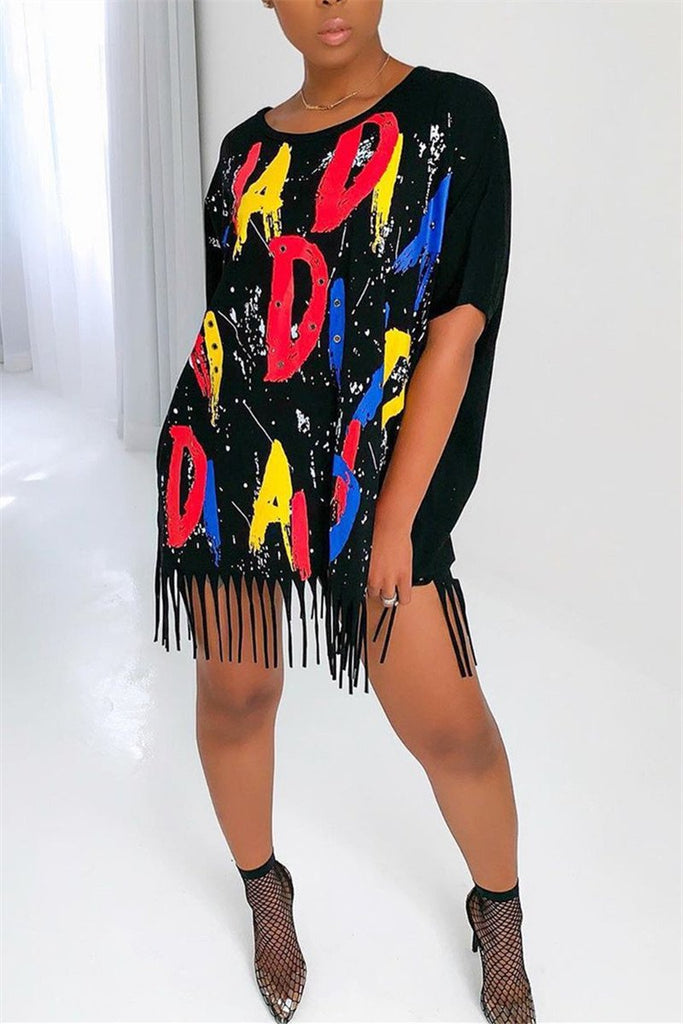 Tassels Hem Letter Print Plus Size Mini Dress