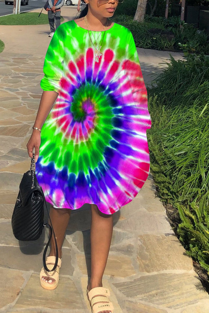 Plus Size Tie Dye Lantern Dress