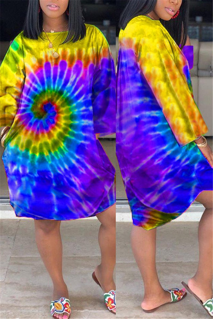 Plus Size Tie Dye Long Sleeve Dress