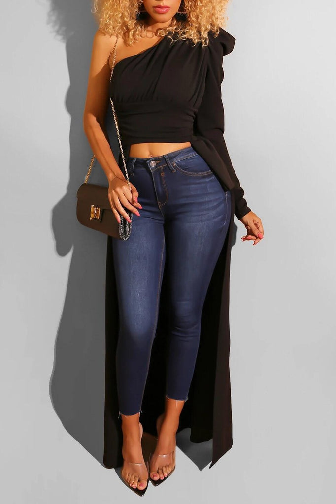 Puff Sleeve One Shoulder Asymmetric Top