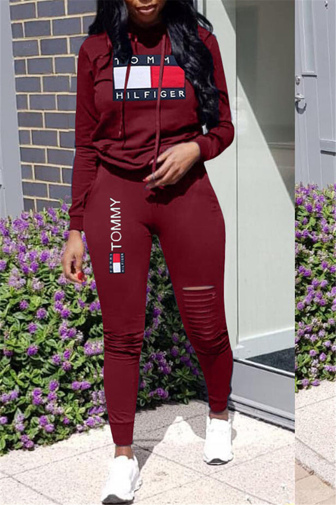 Plus Size Letter Print Distressed Two Piece Sets