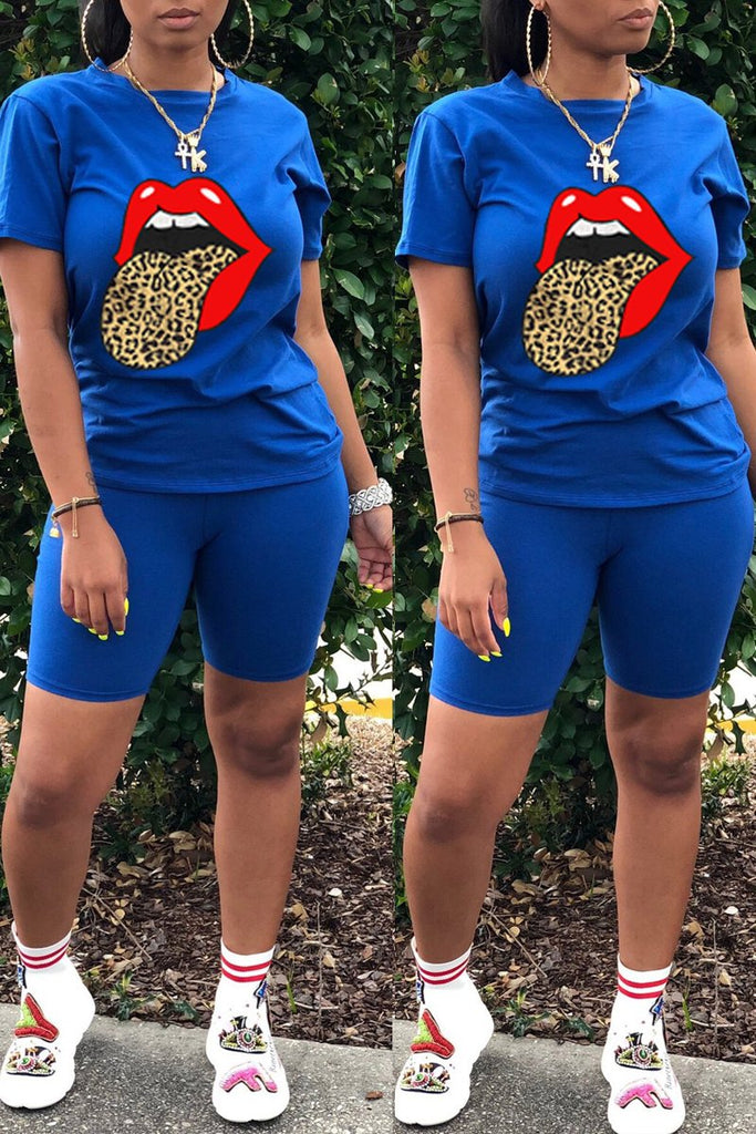 Lip Print Leopard Short Sleeve Two Piece Sets