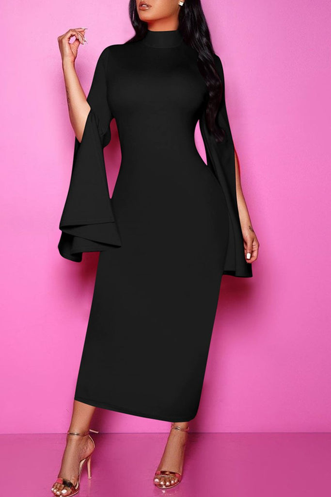 High Neck Flare Sleeve Party Midi Dress