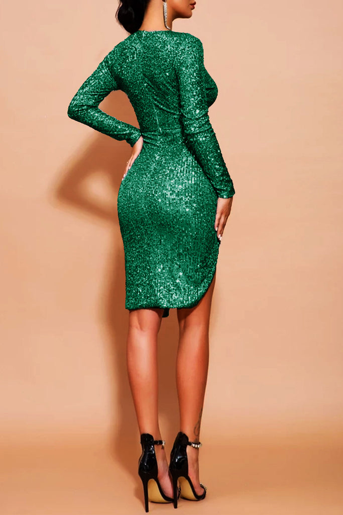Sequin Side Slit Ruffle Hollow Out Midi Dress