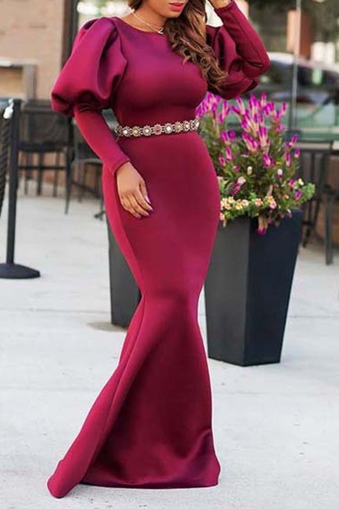 Solid Puff Sleeve Party Maxi Dress Without Belt