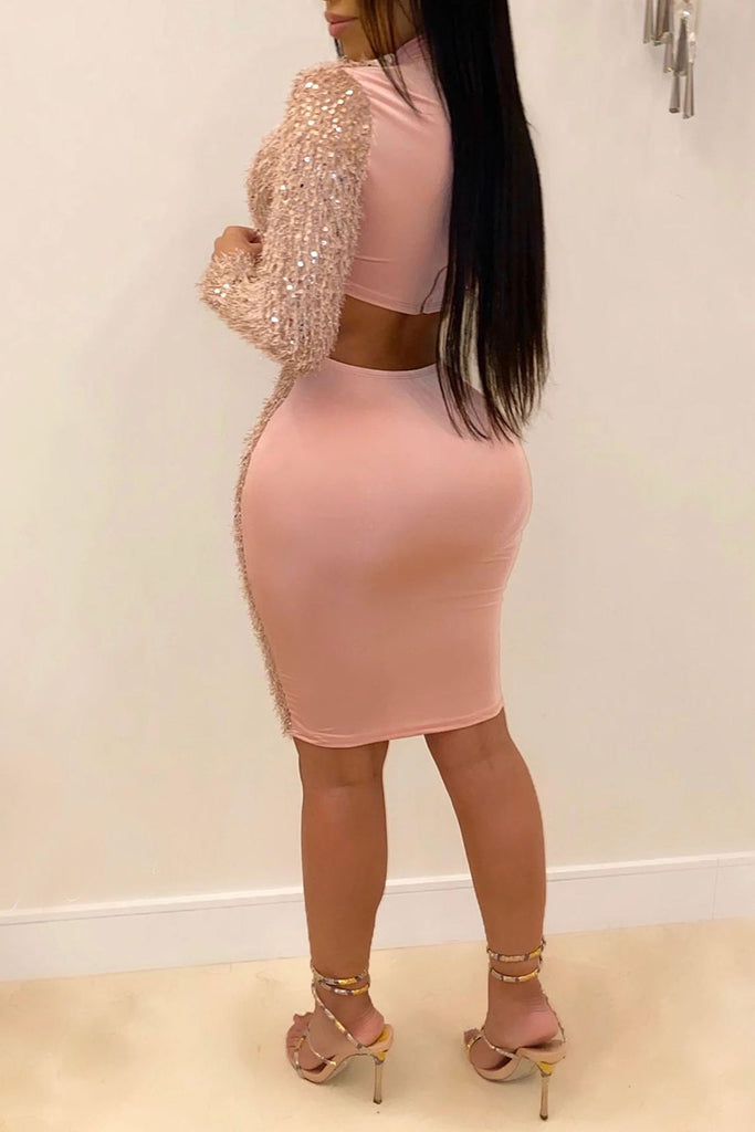Bandage Cutout Solid Color Mini Dress