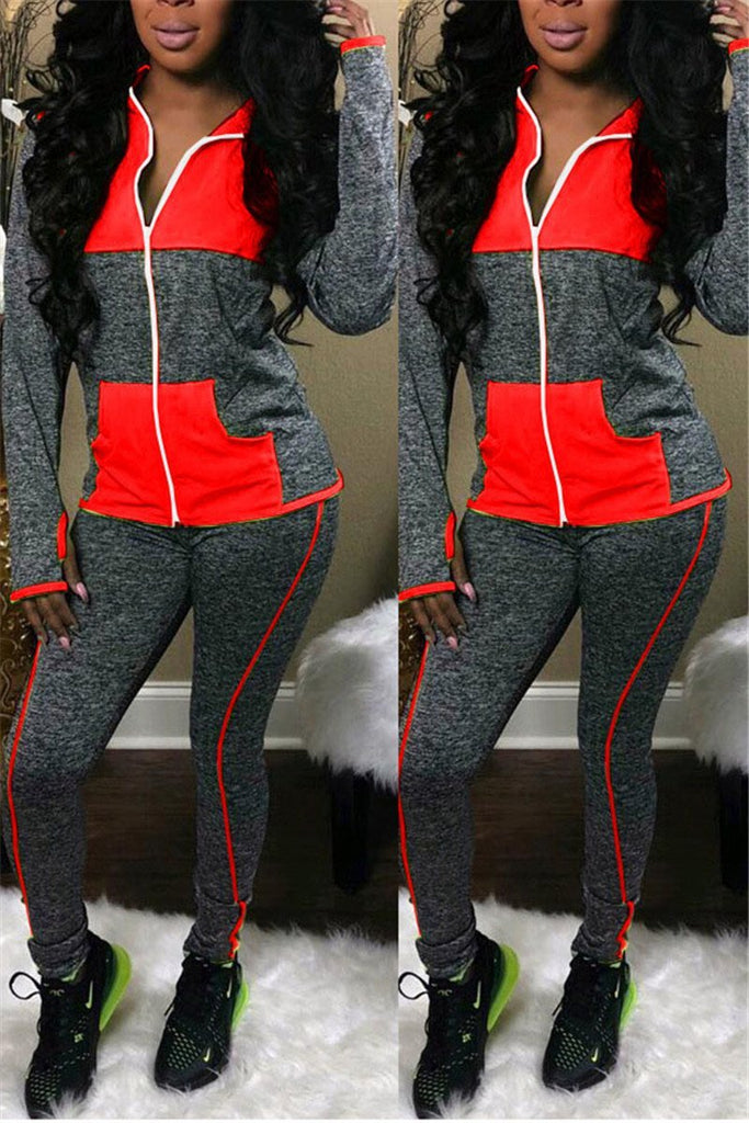 Color Block Hooded Collar Casual Two Piece Sets