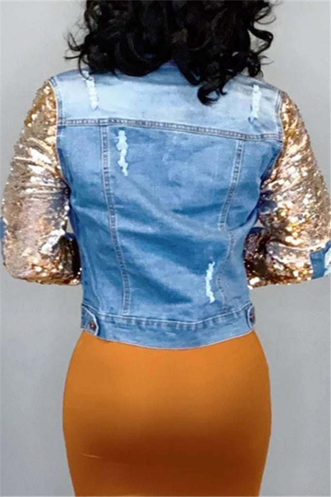 Distressed Sequins Patchwork Denim Jacket