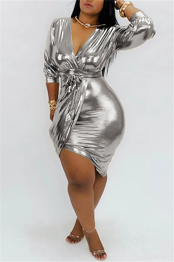 V Neck Solid Color Hot Stamping Dress