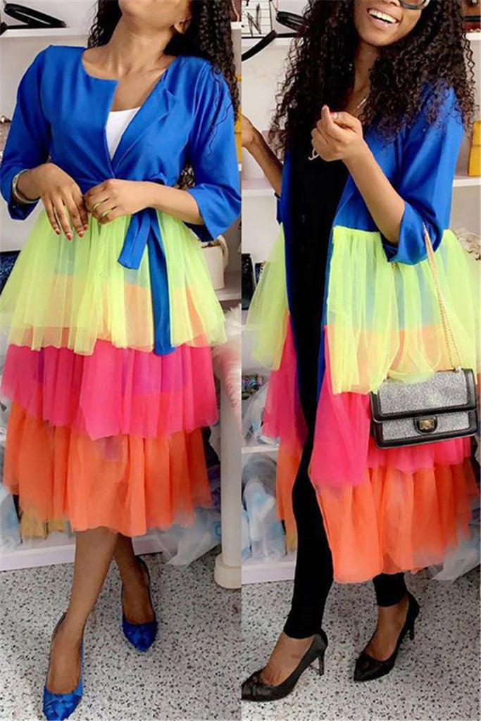 Colorful Mesh Patchwork Tiered Coat