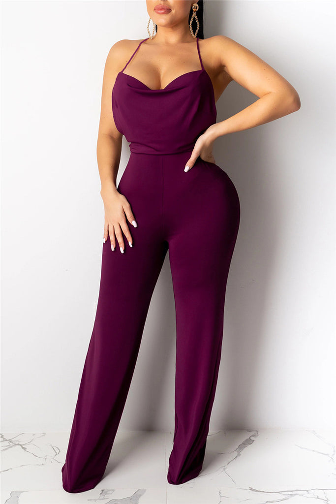 Cowl Neck Open Back Sleeveless Jumpsuit