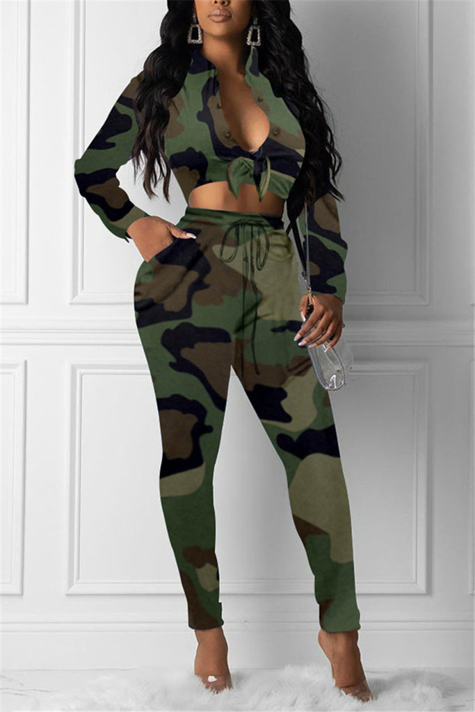 Camouflage Print Tie Up Two Piece Sets