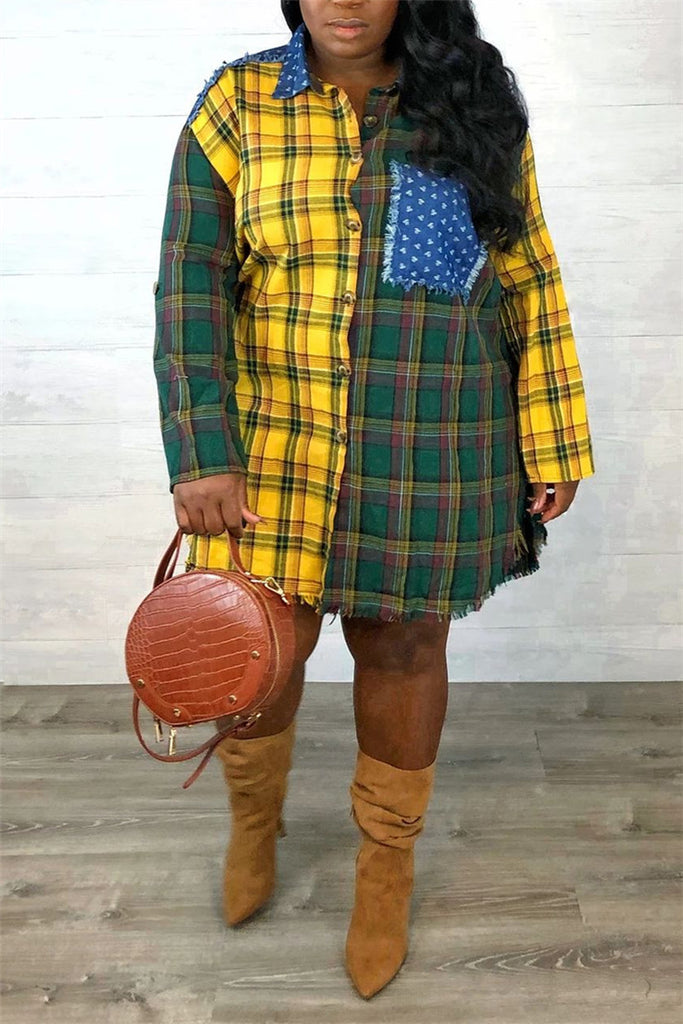 Plaid Patchwork Long Sleeve Shirt Dress