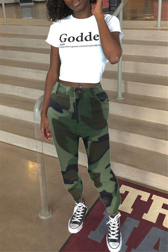 Camouflage Print Patchwork Casual Pants