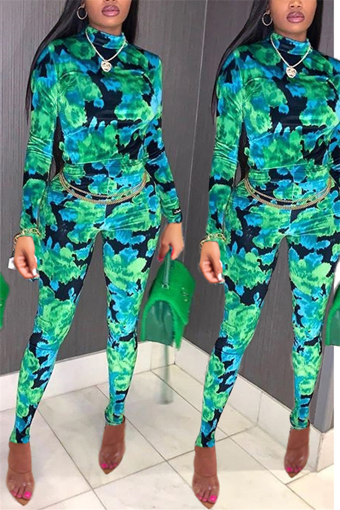 High Neck Long Sleeve Printed Jumpsuit