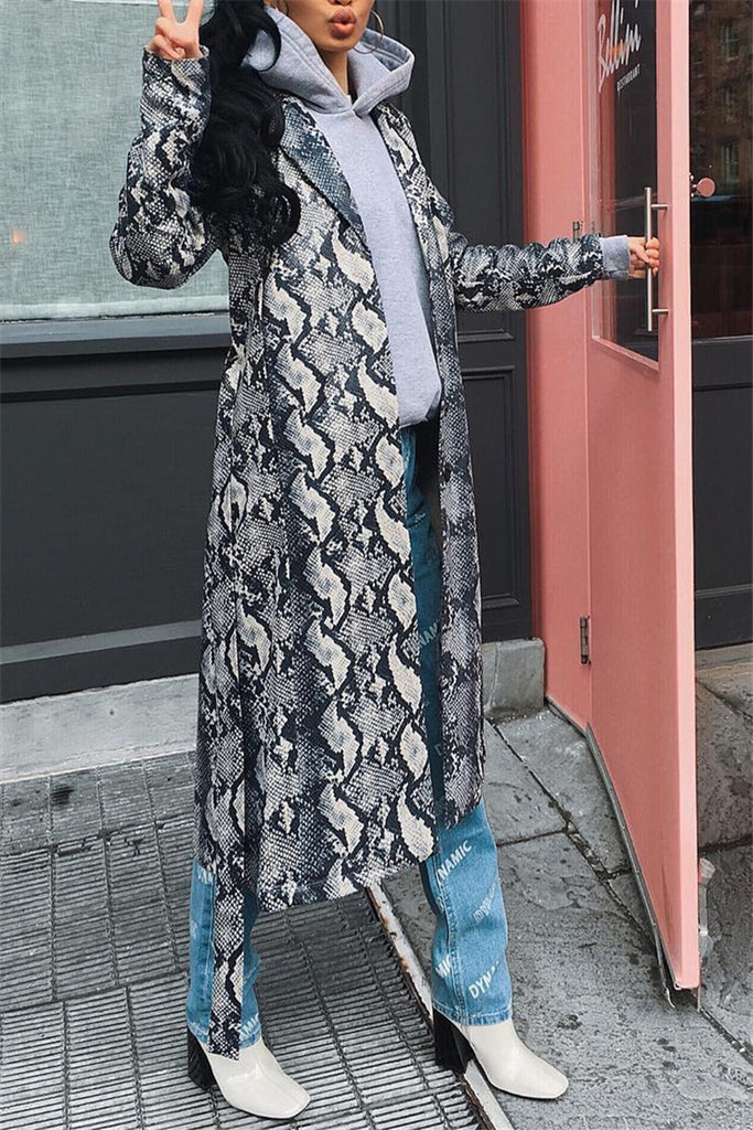 Snake Print Long Sleeve Casual Coat