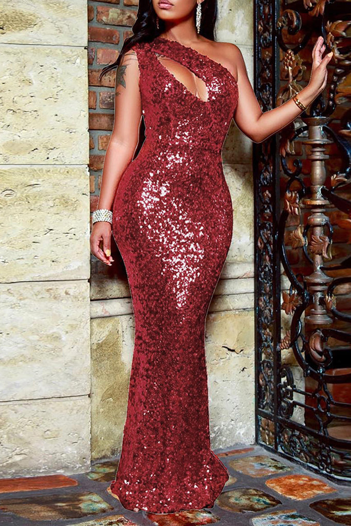 Sequins Cutout Skew Neck Maxi Dress