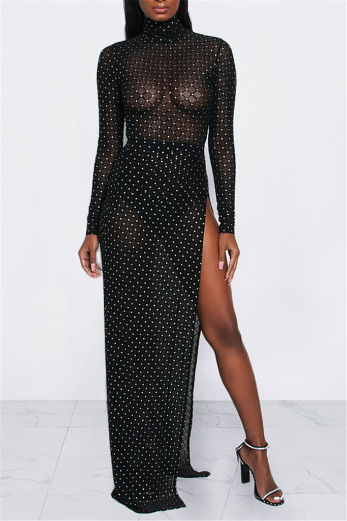 Rhinestone See Through High Slit Maxi Dress