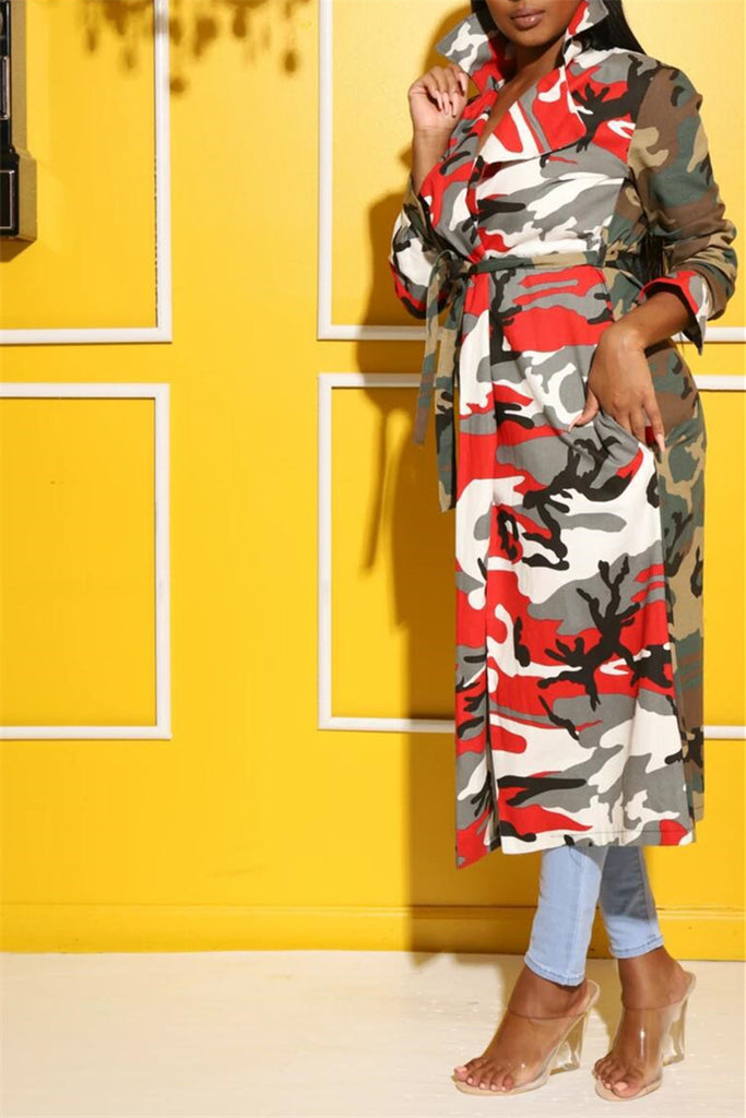 Camouflage Patchwork Turndown Collar Casual Coat