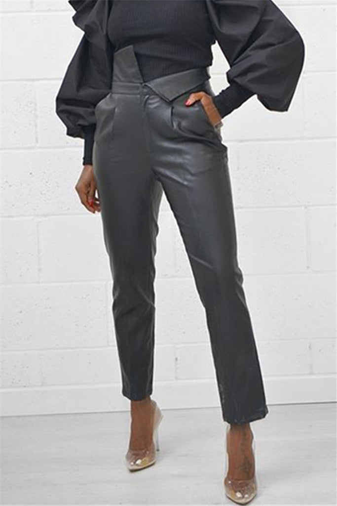 High Waist Solid Color PU Pants
