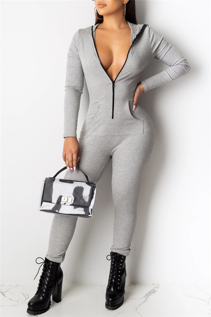 Zip Up Hooded Collar Casual Jumpsuit