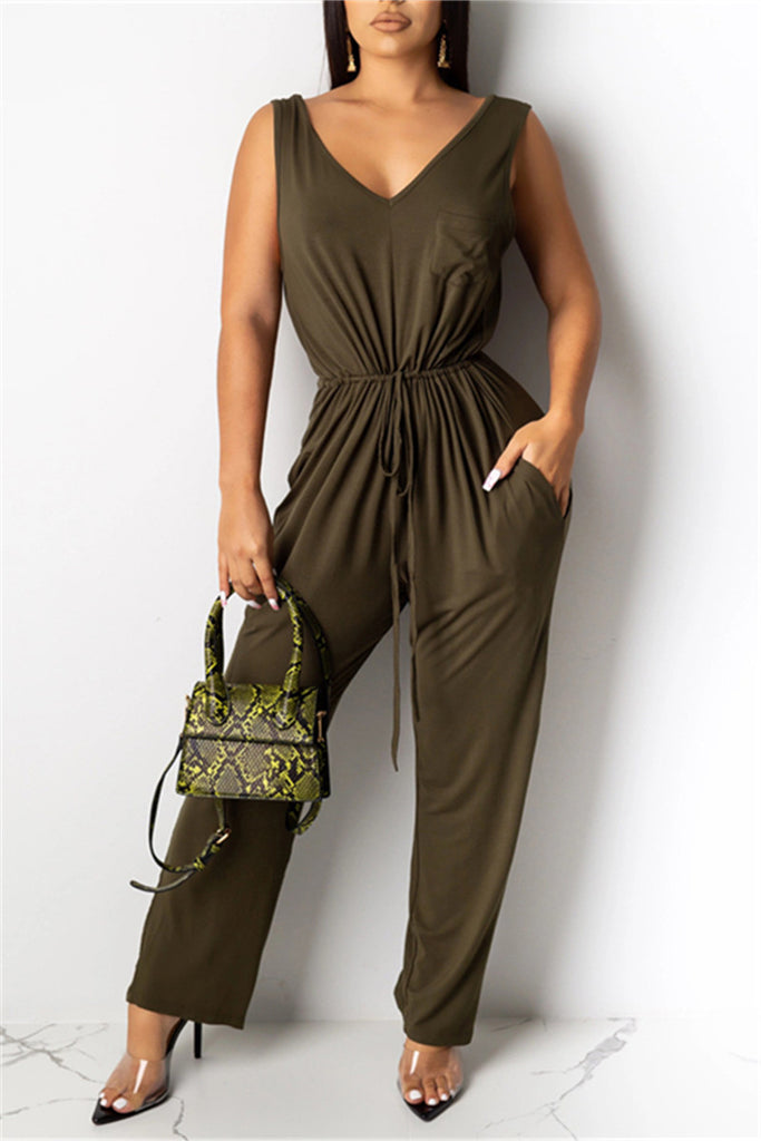 V Neck Solid Color Drawstring Jumpsuit